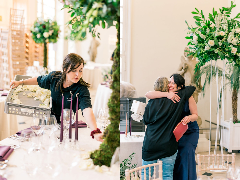 Emma Soulsby Flowers team setting up the Kew Gardens Orangery with floral trees