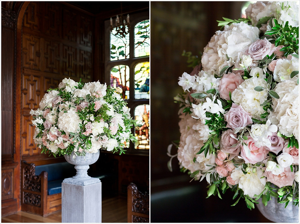 Urn of flowers included pink and cream roses, peonies, astilbe at Two Temple Place Wedding