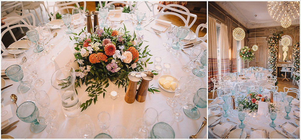Low table centrepieces at Cowley Manor by Emma Soulsby Flowers