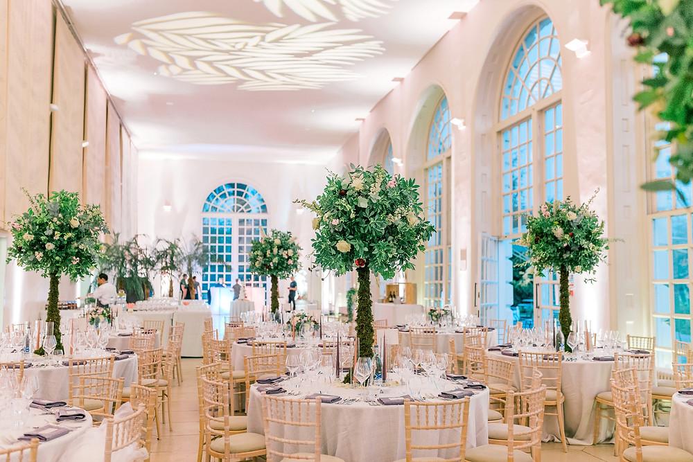 Luxury wedding flowers at Kew Gardens Orangery
