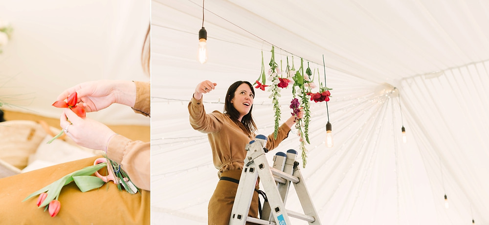 Luxury florist Emma Soulsby installs hanging flowers in a marquee