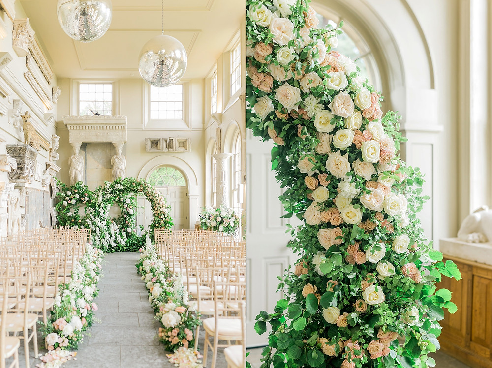 Details of dramatic floral arch at Aynhoe Park, filled with white and pink roses