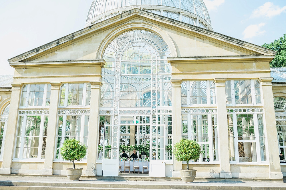 External shot of Syon Park conservatory during floral installation set up