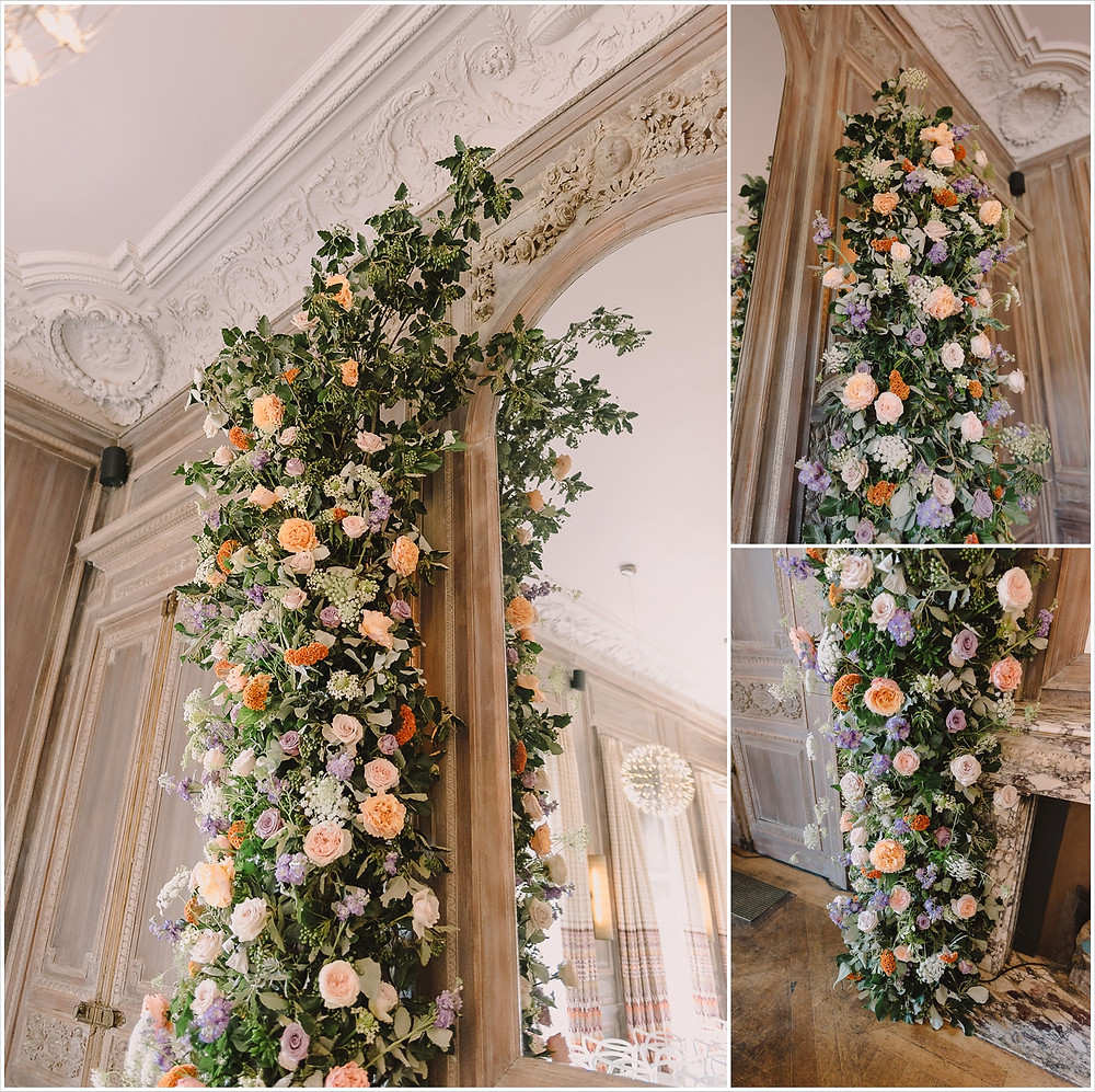 Collage of images of large a-symmetric floral arch at Cowley Manor