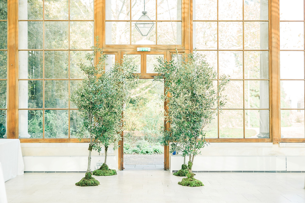 Trees created for the entrance of Kew Gardens Nash wedding