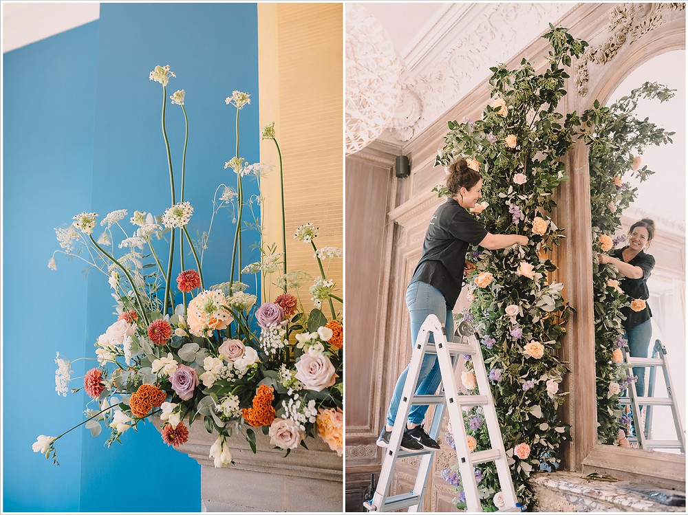 Collage of images showing large orange and lilac installation being built at Cowley Manor