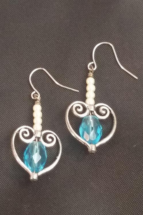 Silvertone Heart Earrings Blue/White Accent