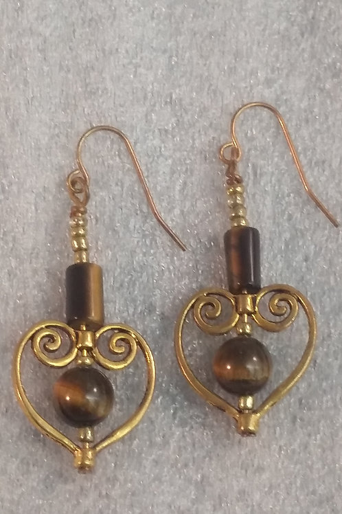 Tiger Eye Heart Bronze Tone Earrings