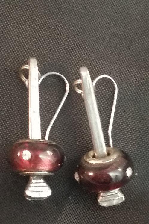Horseshoe Nail Earrings Purple Accent