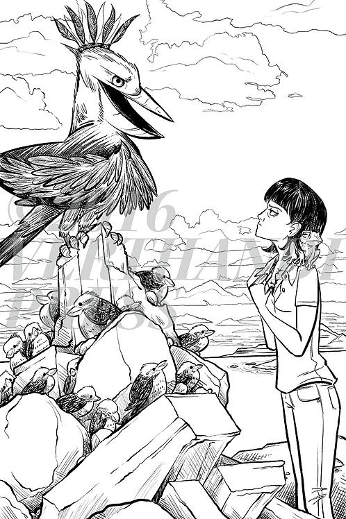 """Unframed """"Weeping Kookaburra"""" Print 6x8"""