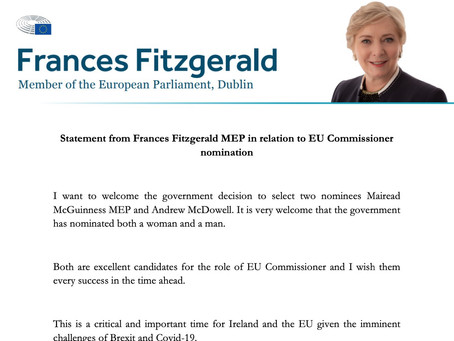 Statement from Frances Fitzgerald MEP in relation to EU Commissioner nomination