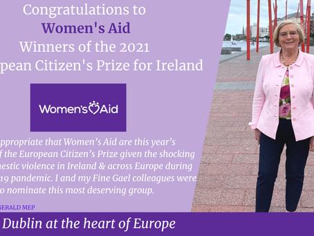 MEP Frances Fitzgerald congratulates Women's Aid on their European Citizen's Prize win
