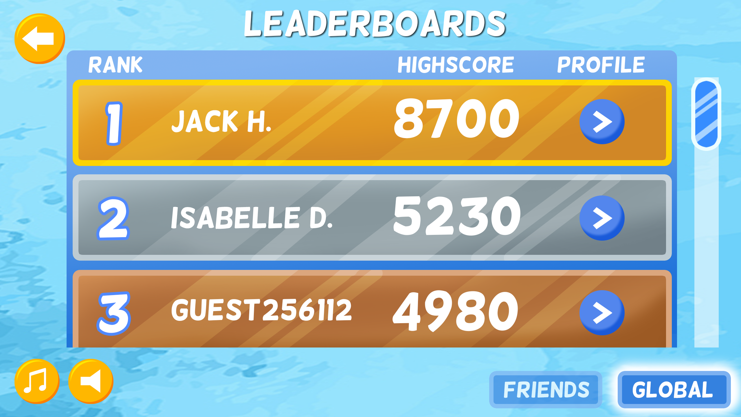 Leaderboards Page