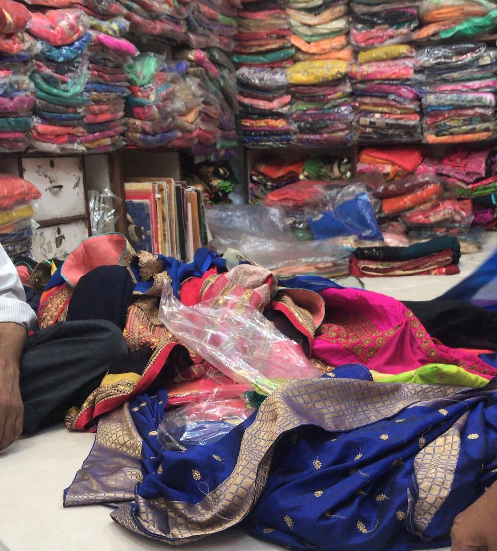Shopping for a saree.