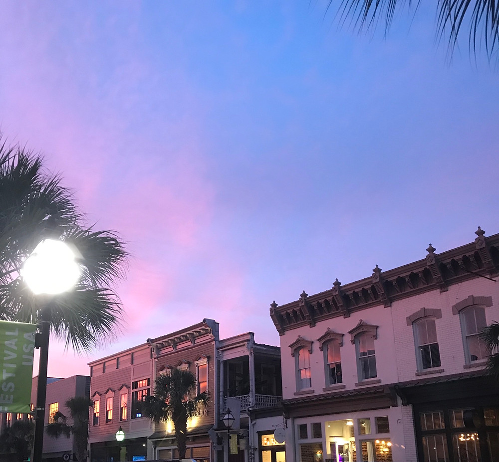 Purple sky on King Street. Downtown Charleston, Sc. Picture taken by Lourdes Montes.
