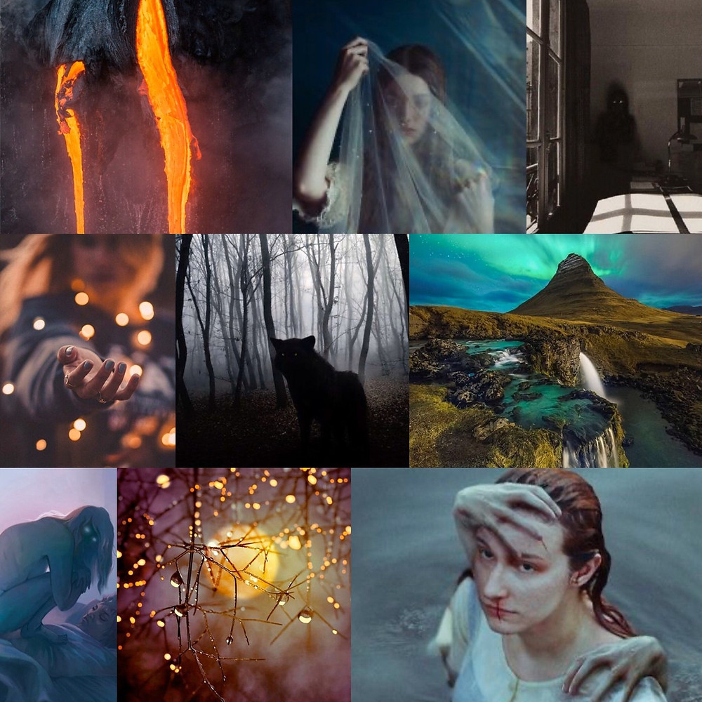 Dark Keeper mood board. Images are from the Pinterest board, which is a great way to nurture imagination and the writing process.