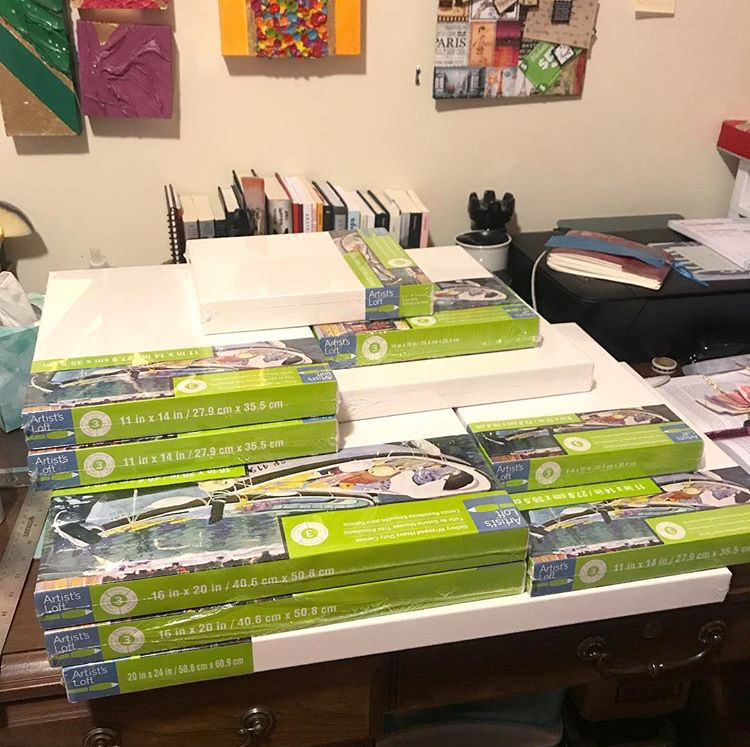 My desk after shopping at Michael's 70% off canvas sale!