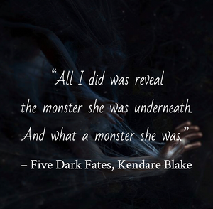 Quote from Five Dark Fates by Kendare Blake. Edited by Lourdes Montes for Two Arts in a World. Charleston, Sc.