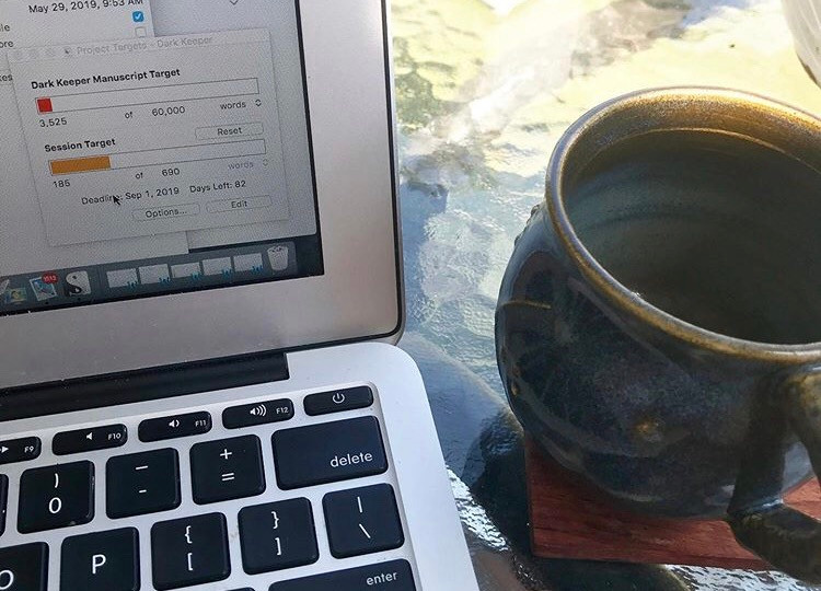 Scrivener project targets for Dark Keeper by Lourdes Montes. Morning writing session, Summer, 2019.