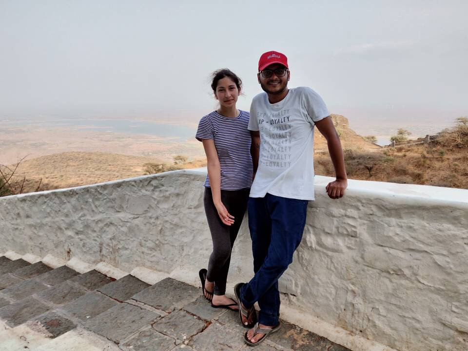 Outside the Palitana temple. Before we started descending the stairs.