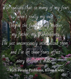 Quote from Rich People Problems by Kevin Kwan. Edited by Lourdes Montes for Two Arts in a World. Adult Contemporary Fiction - Chick Lit