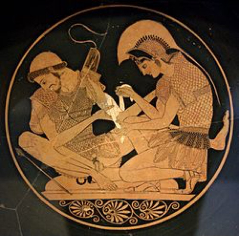 This image of Patroclus and Achilles was painted on pottery around 500 BCE.