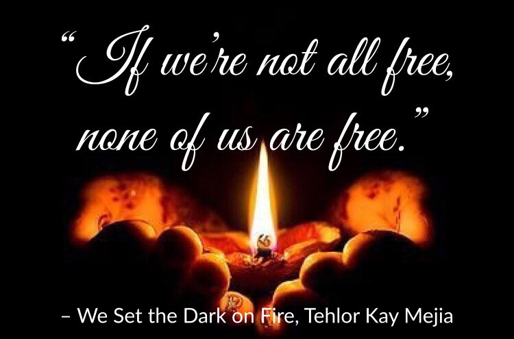 """If we're not all free, none of us are free."" Quote from We Set the Dark on Fire by Tehlor Kay Mejia, Edited by Lourdes Montes for Two Arts in a World."