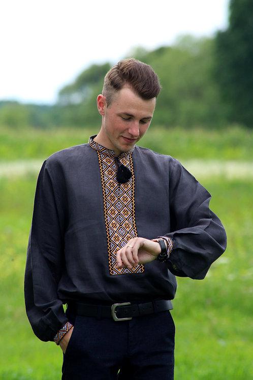 Вишиванка, чоловіча вишита сорочка чорному льоні (Арт. 02121)