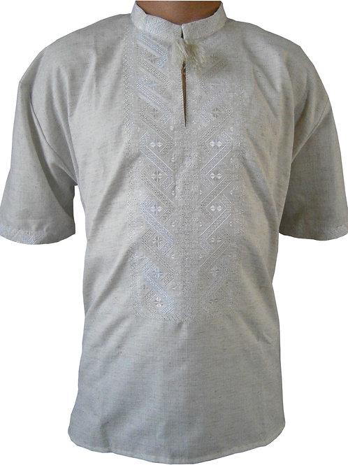 Вишиванка, чоловіча вишита сорочка безпосередньо на льоні (Арт. 00337)