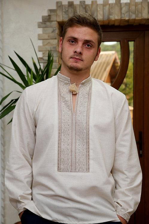 Вишиванка ручної роботи, чоловіча сорочка на сірому льоні (Арт. 00227)