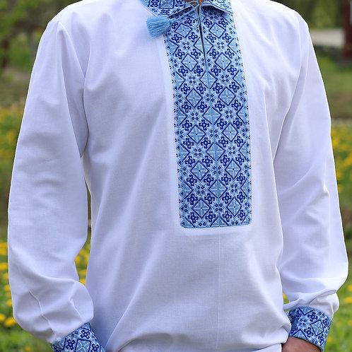 """Вишиванка чоловіча """"Національна"""" вишита блакитними нитками (Арт. 00342)"""