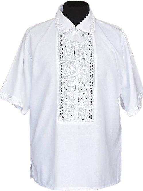 #вишиванка ручної роботи, чоловіча сорочка білим по білому (Арт. 01283)