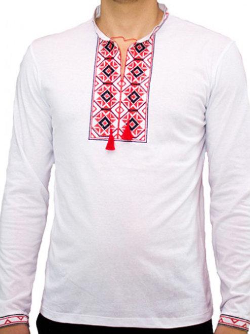 """#футболка чоловіча з патріотичною вишивкою """"РОМБИ"""" (Арт. 01830)"""