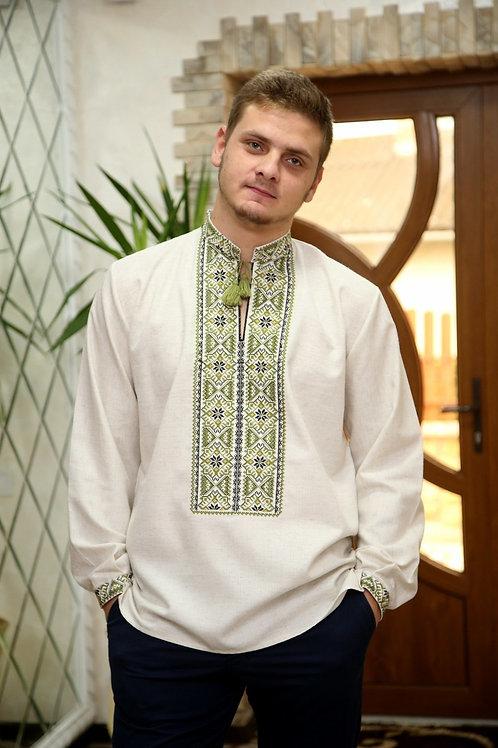 Вишиванка, чоловіча вишита сорочка на льоні (Арт. 01969)