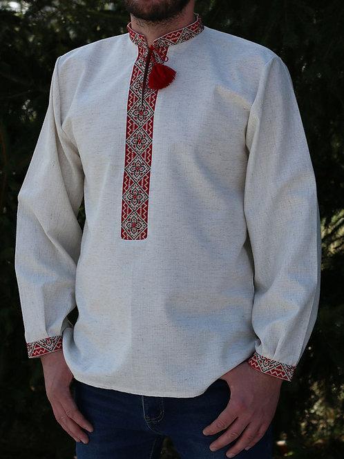 """Вишиванка ручної роботи, чоловіча сорочка на льоні """"Чудесна"""" (Арт. 02595)"""