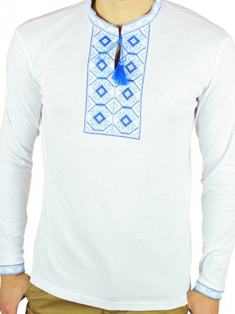 """#футболка чоловіча з патріотичною вишивкою """"РОМБИ"""" (Арт. 01831)"""