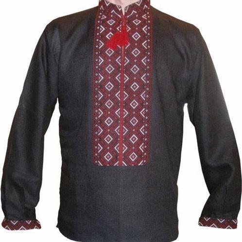 Вишиванка чоловіча червоним по чорному льоні (Арт. 00391)