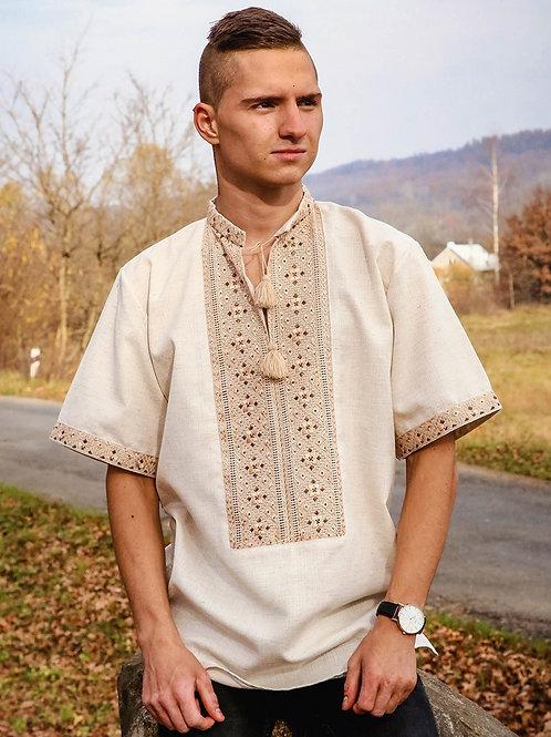 Вишиванка чоловіча на льоні шовковими нитками (Арт. 00023)