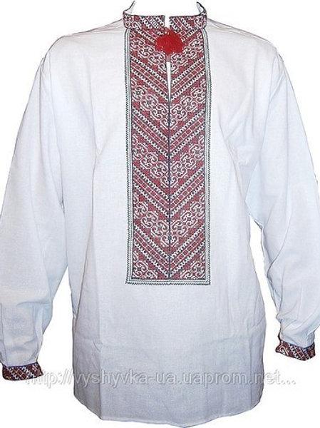 Вишиванка ручної роботи, чоловіча сорочка з косим узором (Арт. 00004)