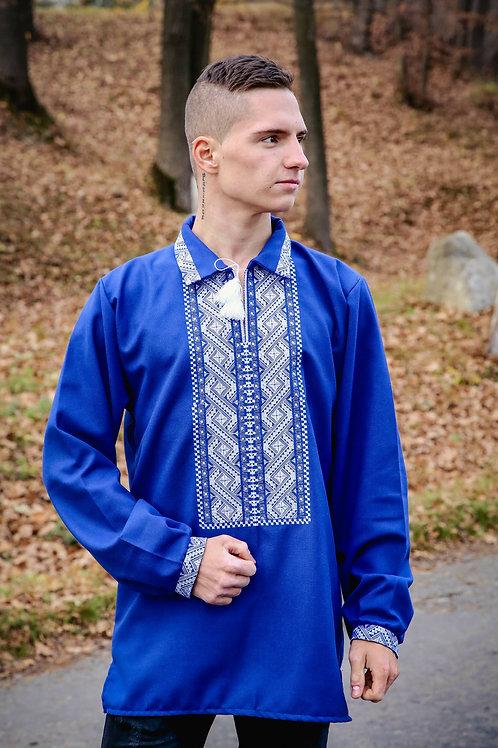 Вишиванка, чоловіча вишита сорочка на синьому домотканому полотні (Арт. 00041)