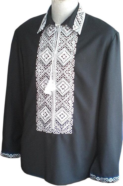 Вишиванка чоловіча білими нитками по чорному полотні (Арт. 01872)