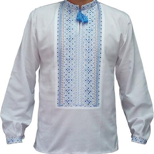 Вишиванка чоловіча синіми нитками на білому домотканому (Арт. 01678)
