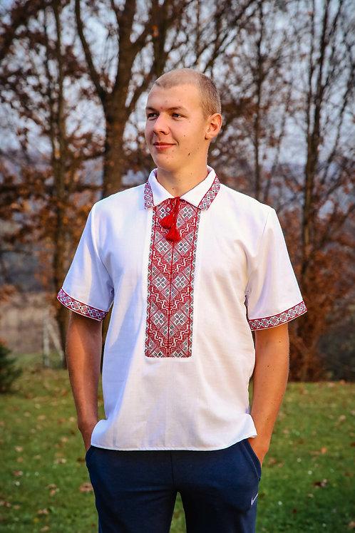 """Вишиванка ручної роботи, чоловіча """"Український вектор"""" (Арт. 00588)"""