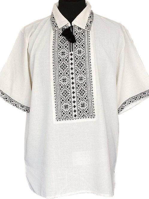 Вишиванка, чоловіча вишита сорочка чорними нитками на сірому льоні (Арт. 01278)