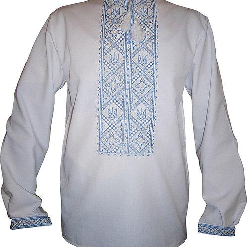 """Вишиванка, чоловіча патріотична вишивана сорочка """"Тризуб"""" (Арт. 00525)"""
