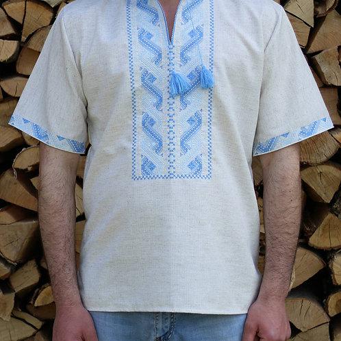 Вишиванка, чоловіча вишита сорочка безпосередньо на льоні (Арт. 00360)