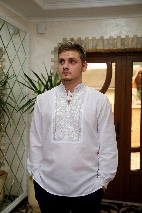 Вишиванка ручної роботи, чоловіча сорочка білим по білому (Арт. 00228)