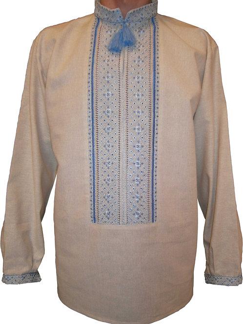 Вишиванка чоловіча на сірому невибіленому льоні синіми нитками (Арт. 00301)
