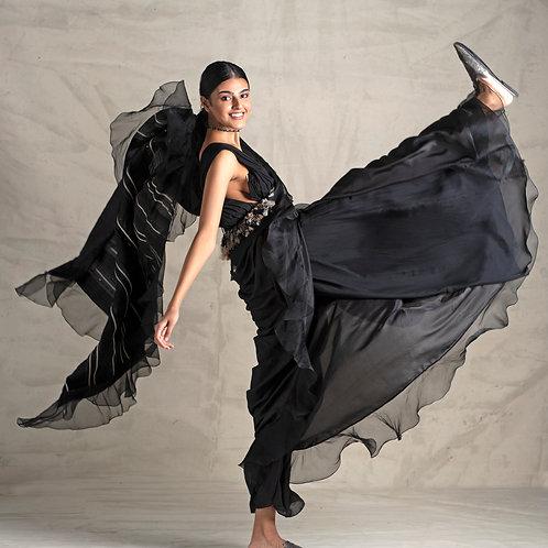 Jade By Monica & Karishma Black Ruffle Saree