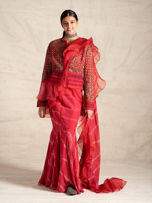 Jade by Monica & Karishma Red Ruffle Saree